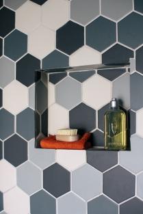 Drumcondra bathroom hexagonal tiles Sherrard Design