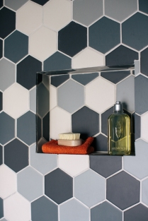 Drumcondra bathroom hexagonal tiles Sherrard Design