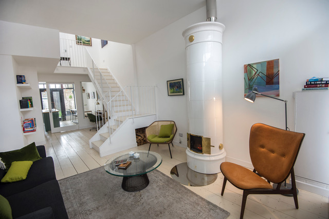15/03/2018-Property-The living room with contemporary stove looking down towards the kitchen at 73 York Road, Dunlaoghaire.Photograph: Brenda Fitzsimons / THE IRISH TIMES